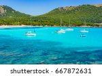 Small photo of Picturesque seascape at the bay of Cala Agulla beach in Cala Rajada Mallorca, Spain Majorca island Mediterranean Sea.