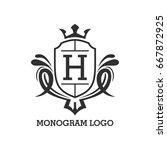 monogram logo template with...   Shutterstock .eps vector #667872925