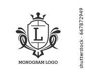 monogram logo template with...   Shutterstock .eps vector #667872949