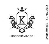 monogram logo template with...   Shutterstock .eps vector #667873015