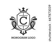 monogram logo template with...   Shutterstock .eps vector #667873039