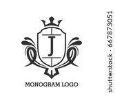 monogram logo template with...   Shutterstock .eps vector #667873051