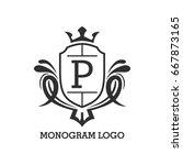 monogram logo template with...   Shutterstock .eps vector #667873165