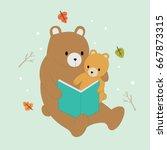 cartoon cute brown bears mother ... | Shutterstock .eps vector #667873315