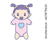 baby girl with pacifier and... | Shutterstock .eps vector #667879624