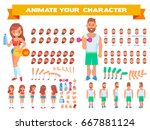 front  side  back view animated ... | Shutterstock .eps vector #667881124