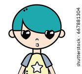 tender boy child with pijama... | Shutterstock .eps vector #667881304