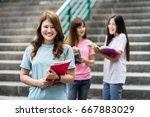 group of happy teen high school ... | Shutterstock . vector #667883029