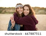 two young hipster girls... | Shutterstock . vector #667887511