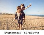 young men giving their... | Shutterstock . vector #667888945