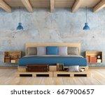 master bedroom with pallet... | Shutterstock . vector #667900657