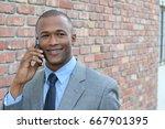 businessman making a call...