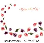 pattern from pink petals and... | Shutterstock . vector #667903165
