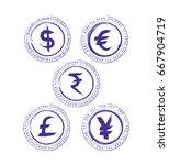 grunge currency symbol  dollar  ... | Shutterstock .eps vector #667904719