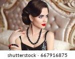 beautiful brunette  elegant...   Shutterstock . vector #667916875