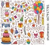 happy birthday hand drawn set... | Shutterstock .eps vector #667917781
