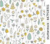vector hand drawn seamless with ... | Shutterstock .eps vector #667918501