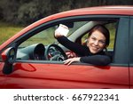 happy young woman with her... | Shutterstock . vector #667922341