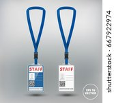 id card staff with lanyard set. ... | Shutterstock .eps vector #667922974