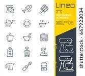 lineo editable stroke   kitchen ... | Shutterstock .eps vector #667923034