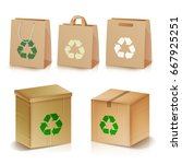 recycling paper bags and boxes. ... | Shutterstock .eps vector #667925251