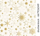 hand drawn golden stars pattern.... | Shutterstock .eps vector #667926349