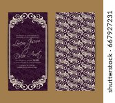 wedding invitation card with...   Shutterstock .eps vector #667927231