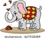 cute elephant and ladybug  | Shutterstock .eps vector #667928389