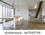 domestic open space with dining ... | Shutterstock . vector #667935709