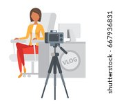 video blogger streaming. woman... | Shutterstock .eps vector #667936831