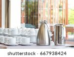 group of coffee cup in a row... | Shutterstock . vector #667938424