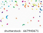 many falling colorful tiny... | Shutterstock .eps vector #667940671