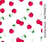 cherry. seamless pattern with... | Shutterstock .eps vector #667940674