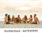 group of friends singing on the ... | Shutterstock . vector #667945999