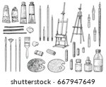 artist tool collection... | Shutterstock .eps vector #667947649