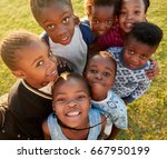 elementary school kids in a... | Shutterstock . vector #667950199
