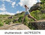 young caucasian beautiful... | Shutterstock . vector #667952074
