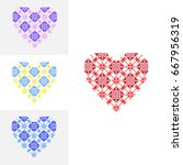 set of bright hearts with... | Shutterstock .eps vector #667956319