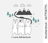 i love adventure typography and ... | Shutterstock .eps vector #667958791