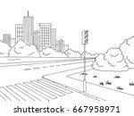 crossroad graphic black white... | Shutterstock .eps vector #667958971