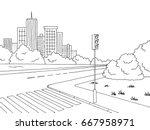 crossroad graphic black white... | Shutterstock .eps vector #667958971