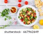 delicious fattoush or bread... | Shutterstock . vector #667962649