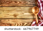 kitchen table with towel. top... | Shutterstock . vector #667967749