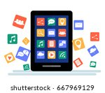 black tablet with cloud of...