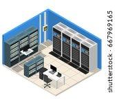 interior server room isometric... | Shutterstock .eps vector #667969165