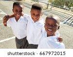 young african schoolboys...   Shutterstock . vector #667972015