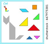 chinese puzzle tangram. cut and ... | Shutterstock .eps vector #667975381