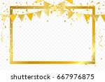 Golden Party Flags With Frame...