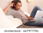 beautiful african american...   Shutterstock . vector #667977781