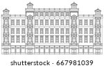 detail front view house facade... | Shutterstock .eps vector #667981039
